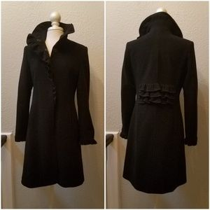 DKNY Cashmere Wool Coat Black Size 8